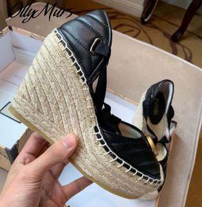 Ollymurs Yeni Yaz Sandalet Metal Marka Platformu Takozlar Ayakkabı Kadınlar Sandalias de Tacon