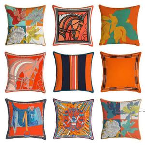 البرتقال سلسلة وسادة يغطي الخيول الزهور طباعة وسادة القضية غطاء للكرسي المنزل أريكة الديكور سكوير وسادات HWF5167