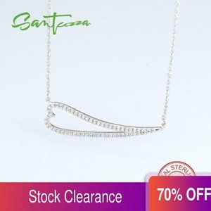 SANTUZZA Pure 925 Sterling Silver Necklace Chain For Woman Heart Shiny White Cubic Zirconia Daily Trendy Fashion Jewelry Q0127