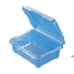 Quadrado descartável caixa de frutas vegetais pacote de alimentos takeaway plástico fast food salada de frutas com tampa hwe9468