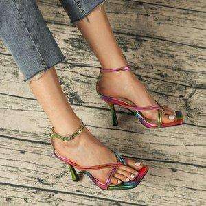 2021 New Colorful Women Sandals Summer Sandals Elegant Women Slides Size 36-42 Outdoor Sandal Thin High Heels Roman