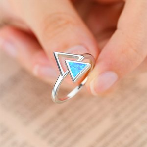 Trendy Female Hollow Triangle Thin Ring Classic Silver Color Wedding Thin Ring Charm White Blue Opal Engagement Rings For Women