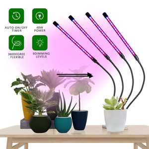 Grow Lights for Indoor Plants Full Spectrum, LED Plant Growing Lamps 40W Four Head Dimming Timing for Seed Starting Succulent Plants Growth,