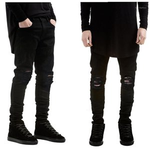 New fashion men black jeans skinny ripped Stretch Slim west hip hop swag denim motorcycle biker pants Jogger1