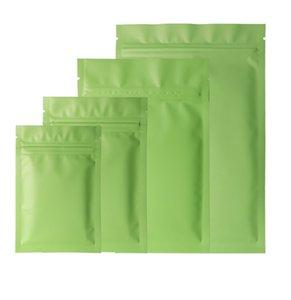 2020 Tamanhos Diferentes 100 Pcs Heat Seling Malotas Planas Lágrimas Notas Matte Verde Folha De Alumínio Zip Saco De Plástico