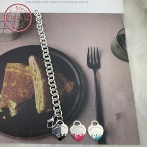 Wholesale Original High Version Tif Bracelet 100 %Sterling Silver Jewelry Love Heart Enamel Ladies String Chain Lj201020