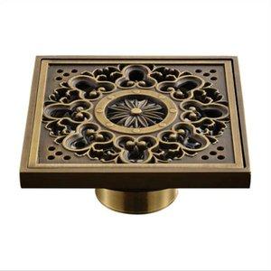 102x102mm Kitchen Balcony Bathroom Retro Carved Brass Floor Drain Anti-clogging Deodorant Washing Machine Dual-use Floor Drain