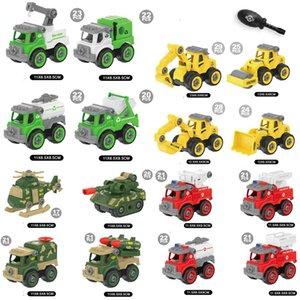 4PCS DIY Construction Diecast Model Car Series Toys Set Various DIY Detachable Assembly Sliding Vehicle Educational Gift for Boys Children