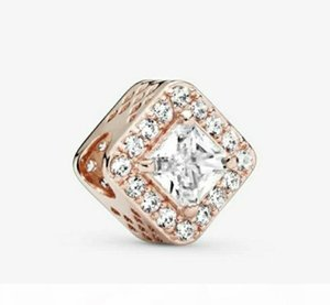 925 Silver Beads Sparkling rose gold Square Charms Rracelet Fits European For Pandora Style Jewelry Bracelets