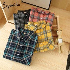 Yitimoky Ekose Bluz Kadınlar Artı Boyutu Kore Moda Giyim Vintage Gömlek Tops Uzun Kollu Yün Güz Kış Mavi Pembe 210225