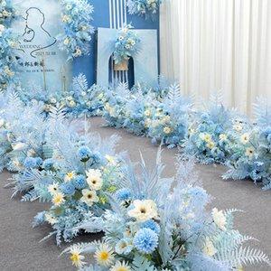 Wedding Flowers Bouquet Collecting Blue Theme Decoration Artificial Flower Rose Petals Desk Welcome Door Casamento