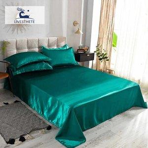 Liv-Esthete Green Bed Flat Sheet Luxury 1PCS Satin Silk Bed Linen Euro Double Queen Single Silky Decor Home Textiles Flat Sheet