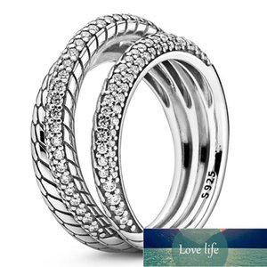Original Triple Band Pave Snake Chain Pattern Ring With Crystal For Women 925 Sterling Silver Ring Gift Fine Europe Jewelry Factory price expert design Quality