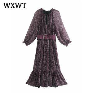 WXWT Women New with Belt Vintage Print Dress 2021 Spring O Neck Temperament Slim Long Sleeve Female Dress WWJ6752