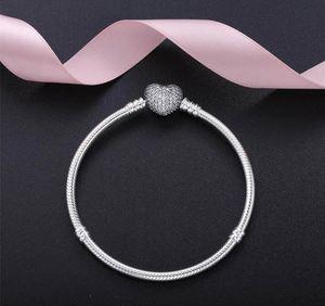 أصيلة 925 فضة القلب سحر سوار مع مربع صالح باندورا الأوروبي الخرز مجوهرات الإسورة الفضة الحقيقية سوار للنساء