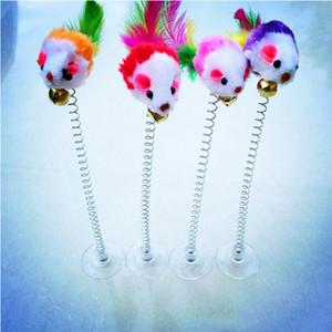 Lustige Swing Frühling Mäuse Maus mit Saugnapf InteraktivFurry Katze Spielzeug Bunte Feder Tails Maus Spielzeug Für Katzen Kleine niedliche Haustiere WLL9