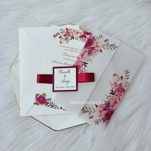 2021 New Vellum Wrap Wedding Invitations With Burgundy Ribbon and Tag DIY Flower Customized Print Invitation Cards for Bridal Shower Party