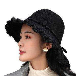 Stingy Brim Hats Spring And Autumn Small Fresh Pure Color Chenille Women's Fisherman Hat Wild Shade Bucket Big Retro Top