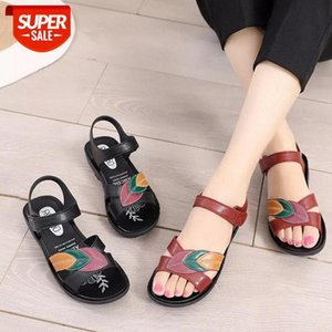 2020 New Women Sandals Soft Three Color Stitching Ladies Sandals Comfortable Flat Open Toe Beach Shoes Woman Footwear AA #K729