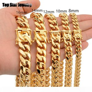 8mm 10mm 12mm 14mm 16mm Stainless Steel Jewelry 18K Gold Plated High Polished Miami Cuban Link Necklace Men Punk Curb Chain Butterfly Clasp