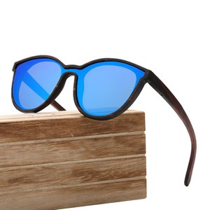 New Wooden Glasses Color Film Bamboo Large Frame Conjoined Lenses Wind Sunglasses