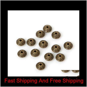 50pcs bag 6mm Tibetan Metal Beads Antique Gold Silver Oval Ufo Shape Loose Spacer Beads For Jewelry Making D jllYve warmslove