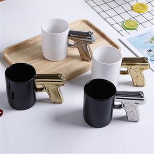 Novelty Ceramic Coffee Mugs Creative Handgun Ceramic Mug with Gun handle Home Kitchen Gift Cup pistol handle cup T9I00925