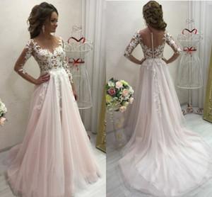 Wedding Dresses 2021 A-Line Blush Pink With Long Sleeve Lace Appliques Sweep Train Sheer vestidos de novia Bridal Gowns Brides