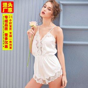 Encaje Satin Sexy Ropa interior para mujer Pijamas de una sola pieza Pajamas Profunda V Silida Summer Summer Showingless Fun Sith