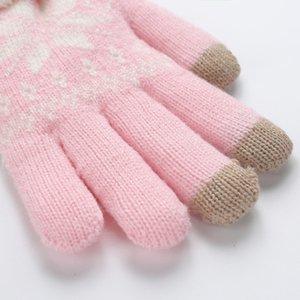 Rimiut épais cachemire deux couches gants d'hiver pour femmes motif tricoté de flocon de neige