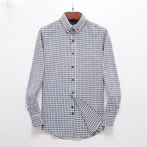 LUXURYS DESIHNERS Moda de hombre Camisa casual de la camisa de diseño casual de diseño de hombres Camisa social 100% algodón de manga larga para hombre camisa S-3XL # 06