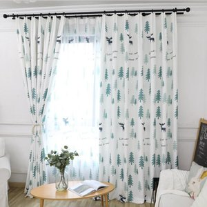 Curtain & Drapes Forest Tree Print For Living Room Cute Cartoon Deer Pastoral Rural French Window JS94C