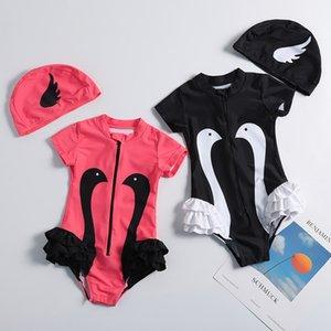 Children swan print Swimwear cartoon baby girls ruffle swimsuit 2021 summer fashion Bikini Sun protection Kids One-piece with hats Z2483
