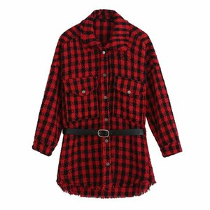 2021 New Women Shirt Plaid Sashes Long Sleeve Turn-Down Collar Shirt Tops Casual Female Shirts Femme Mujer Blouse blusas
