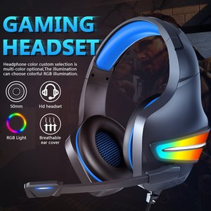 ERXUNG J6 Gaming Headset RGB Luminous Control-by-wire Over Ear Noise Cancellation Headphone with Microphone for Phone,Laptop,PS4,PS5,PC,