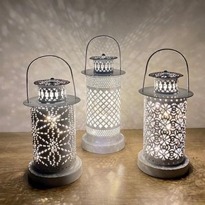 Hollow Wind Lanterns Iron Craft Hollow Decorative Candlestick Led Candle Lights DIY Festival Party Home Decor OWA4029