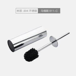 Toilet Brushes & Holders Stainless Steel MaBlack Round Brush Holder Boal Head Bathroom Accessories Cleaning Set Free Punch