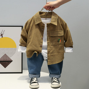 Baby Clothes Children Outfits Set Kids trendy Clothing Boys Spring Designer Khaki Boutique Wear Free Shipping shirt+Jeans 2pcs J0220