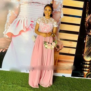 2021 Blush Pink Sheer Lace Evening Prom Dresses Long Chiffon Short Sleeves O Neck Robe De Soiree Evening Party Prom Dress