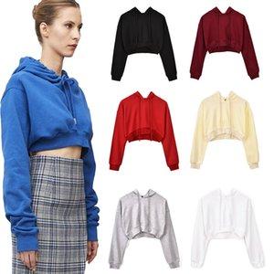 Autumn and winter 2020 sexy solid color leaky navel short hooded top open navel Pullover multi color sweater girl