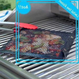 Malha grelhar saco de cozimento reutilizável churrasco ao ar livre picknick cozinhar ferramenta de limpeza fácil de não-stick