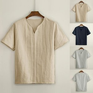 Men shirt Men's Casual Blouse Linen T-shirt Loose V-neck Tops Short Sleeve Tee Shirt