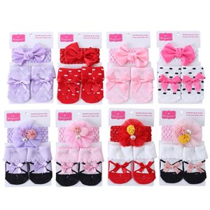 Baby Socks Newborn Socks Bows Headbands 2Pcs Sets Lace Bowknot Princess Socks Cotton Baby Clothes Infant Accessories Gift 0-12M B3922