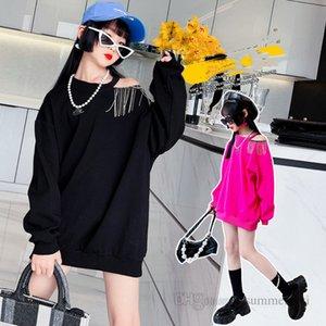 Autumn Girls rhinestones tassel sweatshirt kids dew one shoulder princess tops fashion children long sleeve jumper Q2023
