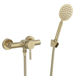 Bathroom Shower Sets Tuqiu Faucet Set Wall Mounted Brushed Gold Faucet, Cold And Bath Mixer Taps Brass
