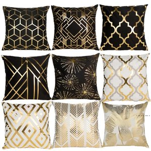 Black White Bronzing Cushion Cover Decorative Pillows Fashion Seat Cushions Home Decor Geometric Throw Pillow Sofa Pillowcase EWD5154