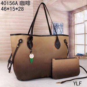 2 ШТ. Установить высокую QULITY Классические дизайнер женские сумки сумки Цветочные дамы композитный PU кожаный сцепление сумки женские кошельки с бумажником