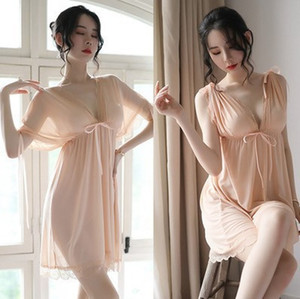Loose Large Size Fat Transparent Erotic Lingerie Seductive Nightdress Passion Mesh Sexy Suit Hot Lace Pajamas
