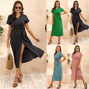 Bolinhas Boêmio de verão das mulheres vestido de comprimento médio2np7