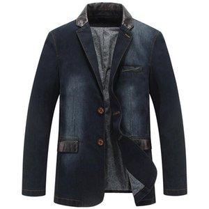 Mens Jackets Autumn Casual Denim Jacket Men Winter Blazer Suits Mens Business Jackets Suits Leather Patchwork Men Jeans Coat M~4XL